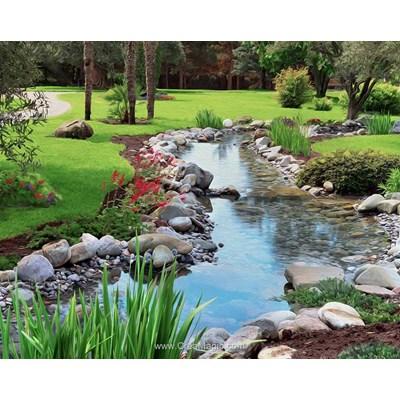Kit broderie diamant Diamond Painting ruisseau dans le jardin