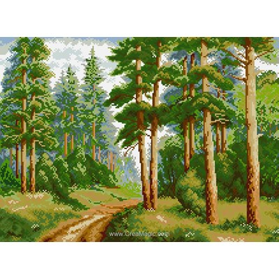 Kit broderie diamant Diamond Painting in the pine forest