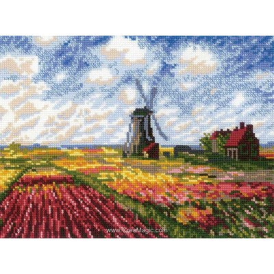 Kit broderie champs de tulipes d'après c.monet - RIOLIS
