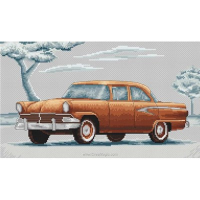 La broderie retro voiture auto - orange de Luca-S