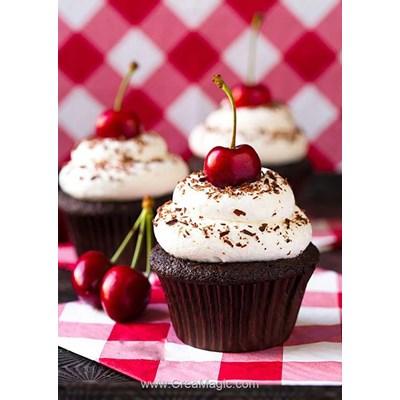 Broderie diamant cherry cupcake - Wizardi