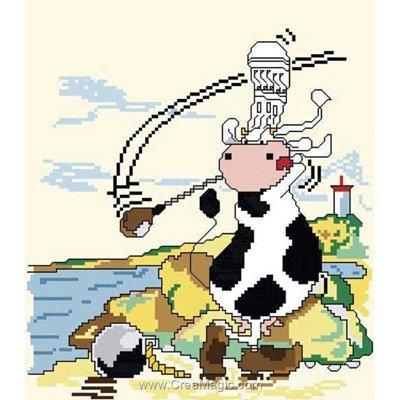 Fiche broderie point de croix Anagram vache golfeuse