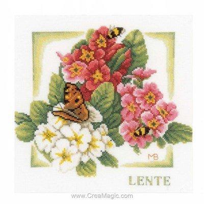 Broderie au point de croix papillons au printemps de Lanarte