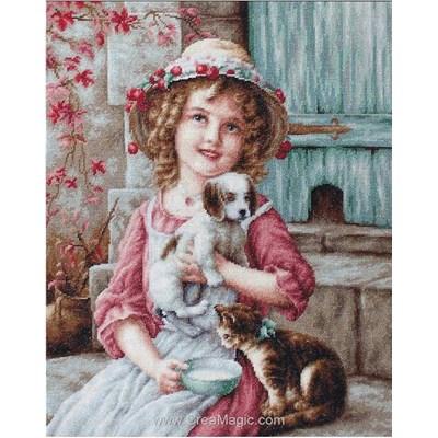 Modèle broderie point de croix petite fille d'époque et ses animaux - Luca-S