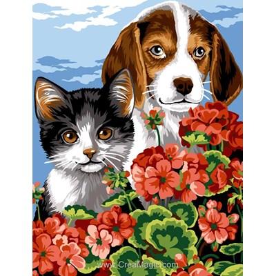 Canevas chat et chien dans les fleurs - Margot