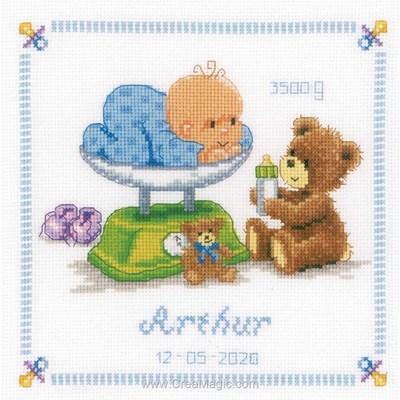 Tableau prénom au point croix mon nourrisson et ses oursons - Vervaco