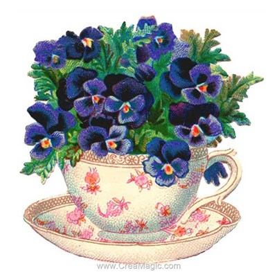 Kit broderie diamant flowers in the cup - Diamond Painting