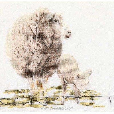 Sheep sur lin modèle au point de croix - Thea Gouverneur