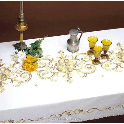 Nappe dorée merveille au point de croix imprimé - Bordée dentelle de Luc Création