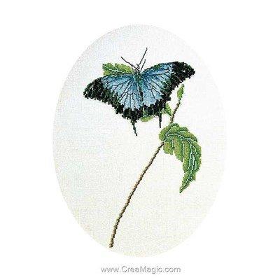 Point de croix butterfly blue sur lin de Thea Gouverneur