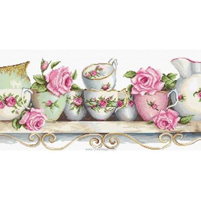 Kit broderie de Luca-S au point de croix l'étagère de tasse de porcelaine
