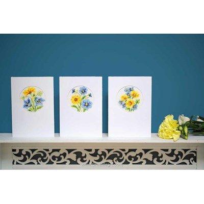 Carte à broder carte de voeux fleurs bleues & jaunes lot de 3 de Vervaco