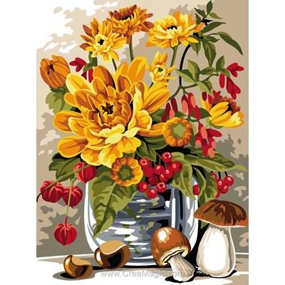 Canevas vase de fleurs couleur du soleil - SEG