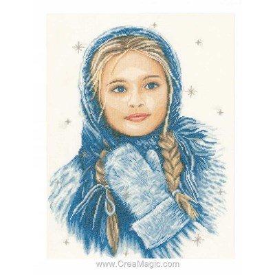 Kit tableau Lanarte point de croix fille au châle bleu en hiver