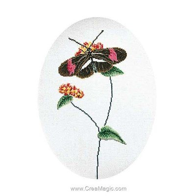 Papillon rose et marron sur aida kit broderie point compté - Thea Gouverneur