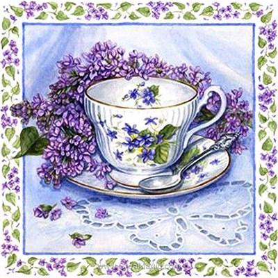 Kit broderie diamant Diamond Painting lilac still life