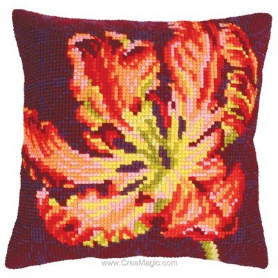 Kit coussin tulipe rouge n°1 au point de croix de Collection d'art
