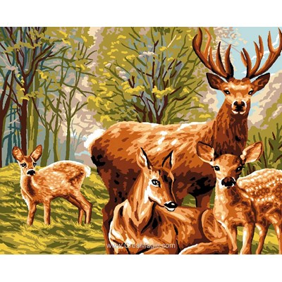 Famille de cerf à l'orée du bois canevas chez Luc Création