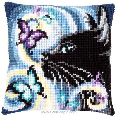 Kit coussin Vervaco chat nocturne et papillons au point de croix