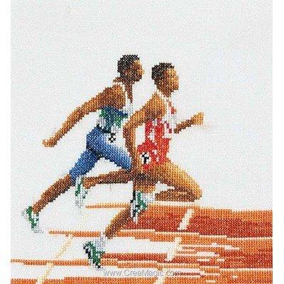 Kit à broder au point de croix athlétisme sur lin de Thea Gouverneur