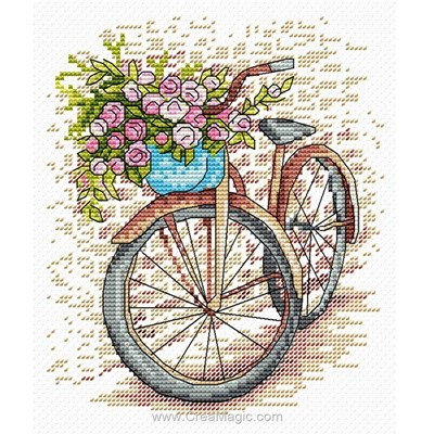 Bicyclette aux roses kit tableau point de croix - MP Studia
