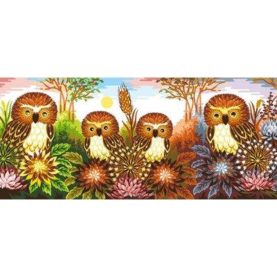 Luc Création canevas les chouettes et fleurs