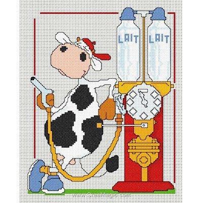 Fiche broderie point de croix la pompe à lait d'Anagram