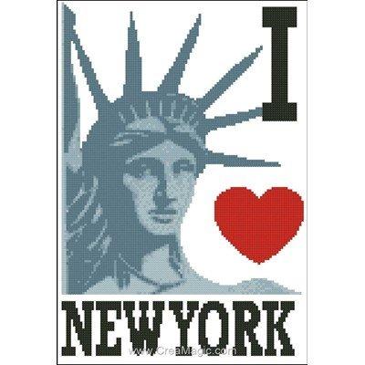 Fiche de broderie au point de croix Points De Repère i love new york