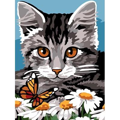 Canevas chat gris et papillon de Margot