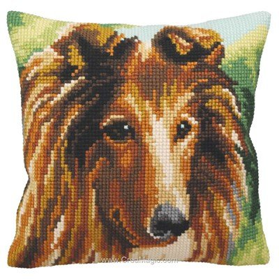 Coussin lassie au point de croix - Collection d'art