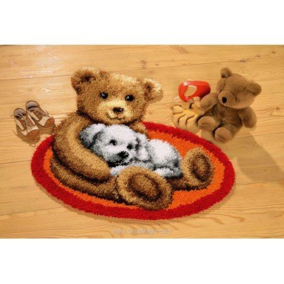 Kit tapis point noue ourson et son chiot de Vervaco