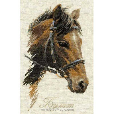 Cheval noisette broderie en point compté - RIOLIS