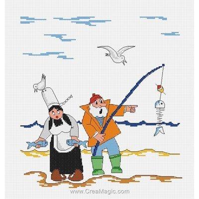 Broderie au point de croix compté a qui profite la pêche - breton - mam'goudig de Marie Coeur