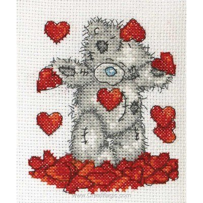 Bain de coeur de nounours broderie au point compté - Me To You