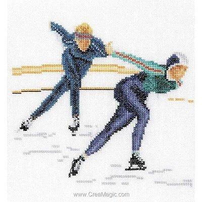 Patin à glace sur lin modèle broderie point de croix - Thea Gouverneur