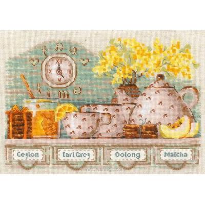Broderie le service à thé jaune - RIOLIS