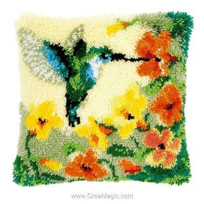 Kit coussin point noué pivert et fleurs de Vervaco