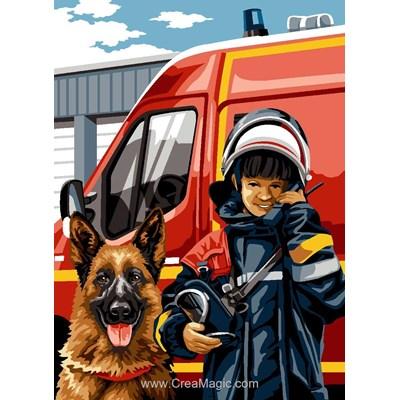 Canevas SEG petit pompier et berger allemand