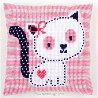Kit coussin mon petit chat rayé rose au point de croix - Vervaco