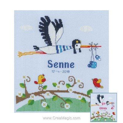 Tableau de naissance point de croix cigogne pour fille ou garçon - Vervaco