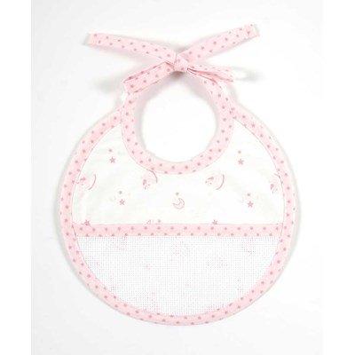 Bavoir bébé DMC à broder baby star naissance - rose