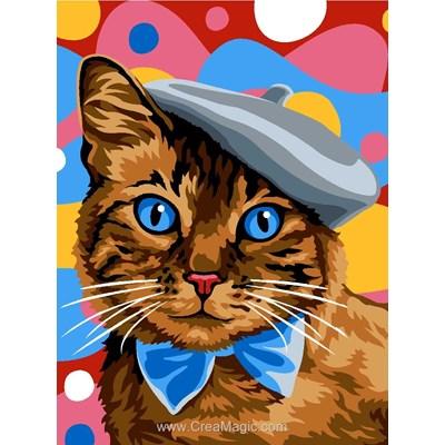 Chat au beret canevas - Margot