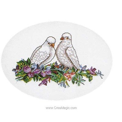 Poetry dove of pease sur aida kit broderie point compté - Thea Gouverneur