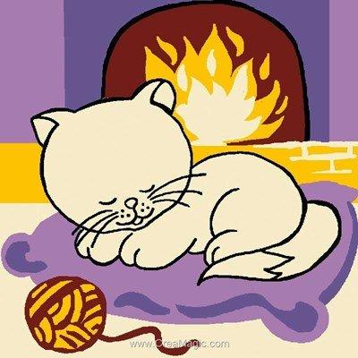 Kit canevas débutant Luc Création le chat et la pelote de tricot