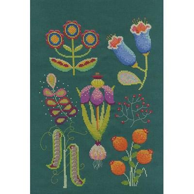 Kit DMC à broder au point de croix collection fleurs & botanique - le jardin vert