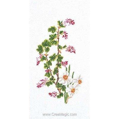 Le point de croix flowering currant-narcissu sur lin - Thea Gouverneur