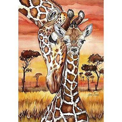 Kit broderie diamant girafes dans la savane - Collection d'art