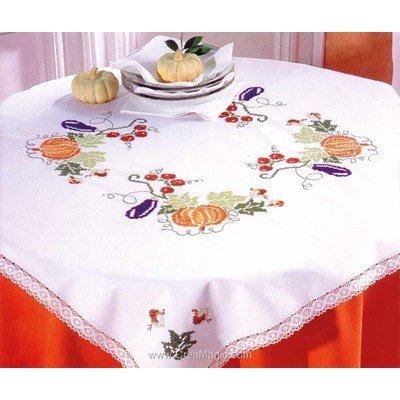 Serviette de table en broderie au point de croix imprimé légumes de l'automne - Montée dentelle - BrodArt