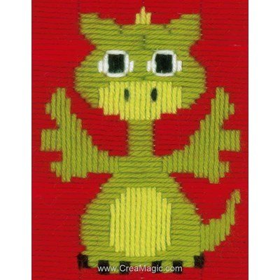 Petit dragon kit canevas point lancé - Vervaco