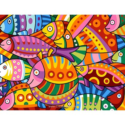 Colored fishes canevas - Margot